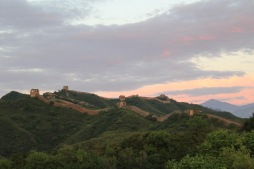 Sunset over the Great Wall of China